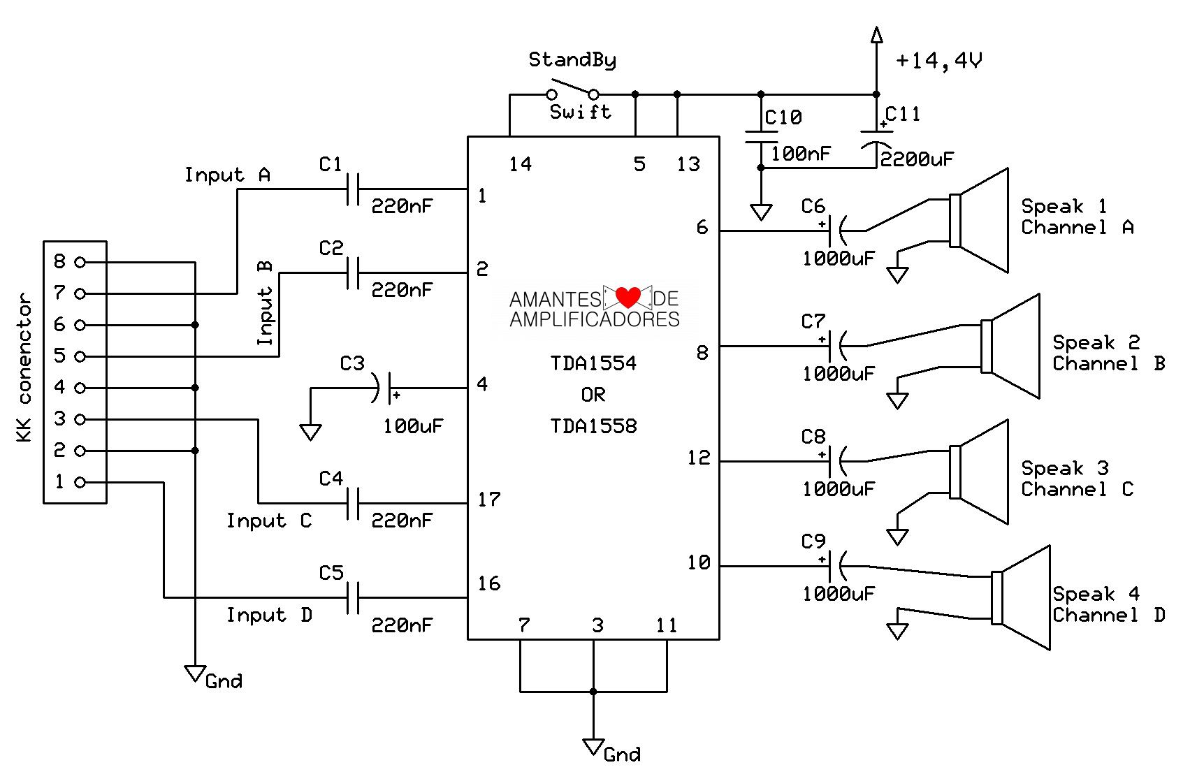 Esquema amplificador quadrifônico (4.0) de 44w de potência