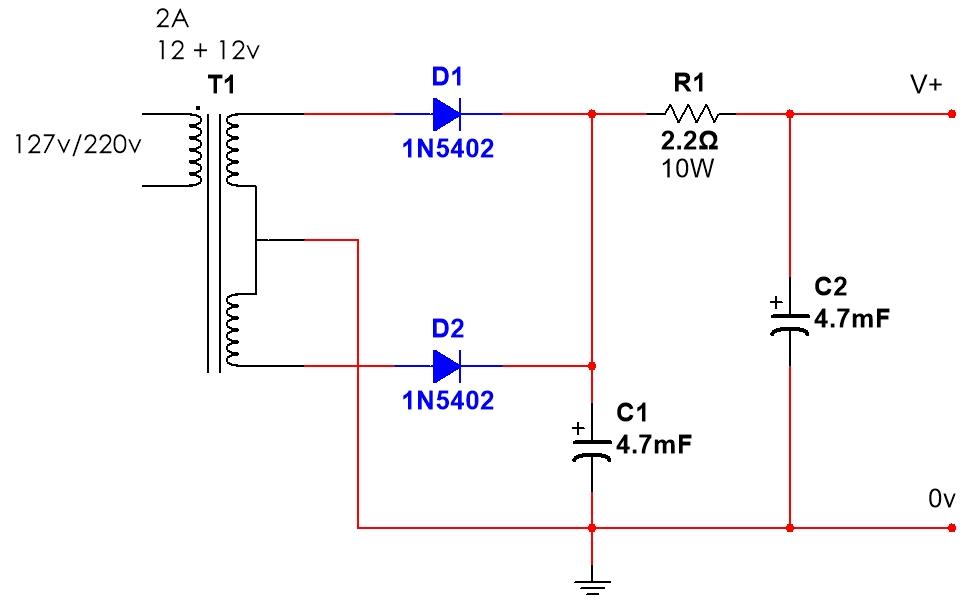 Esquema fonte para amplificador quadrifônico de potência