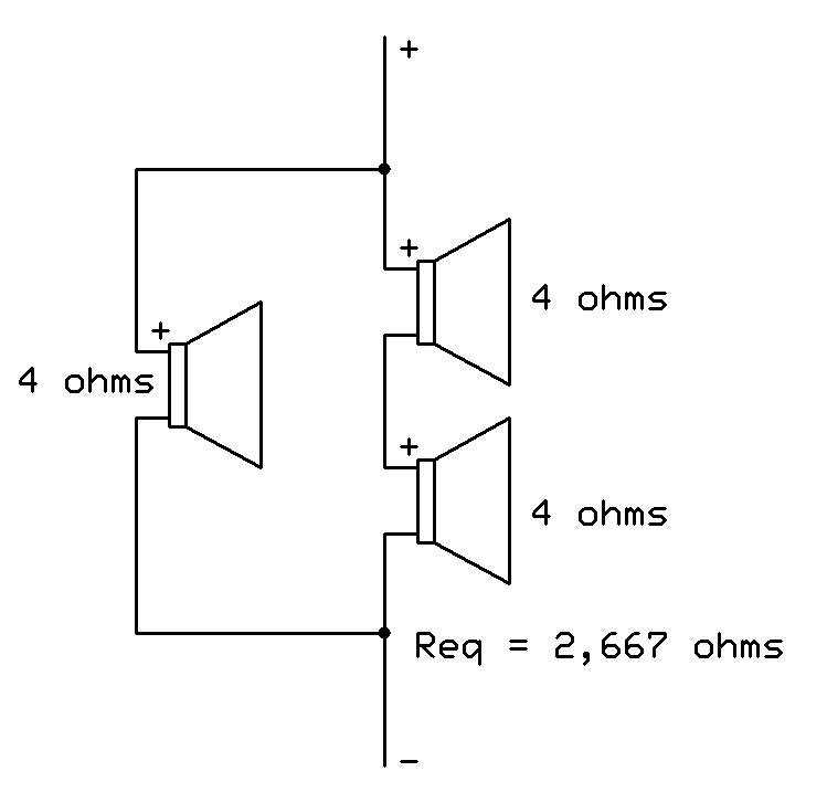 como ligar 3 alto falantes de 4ohms em módulo 2 ohms