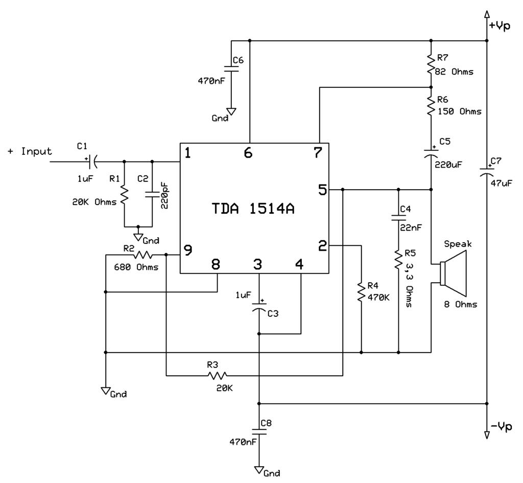 Esquema amplificador de 40W com TDA1514