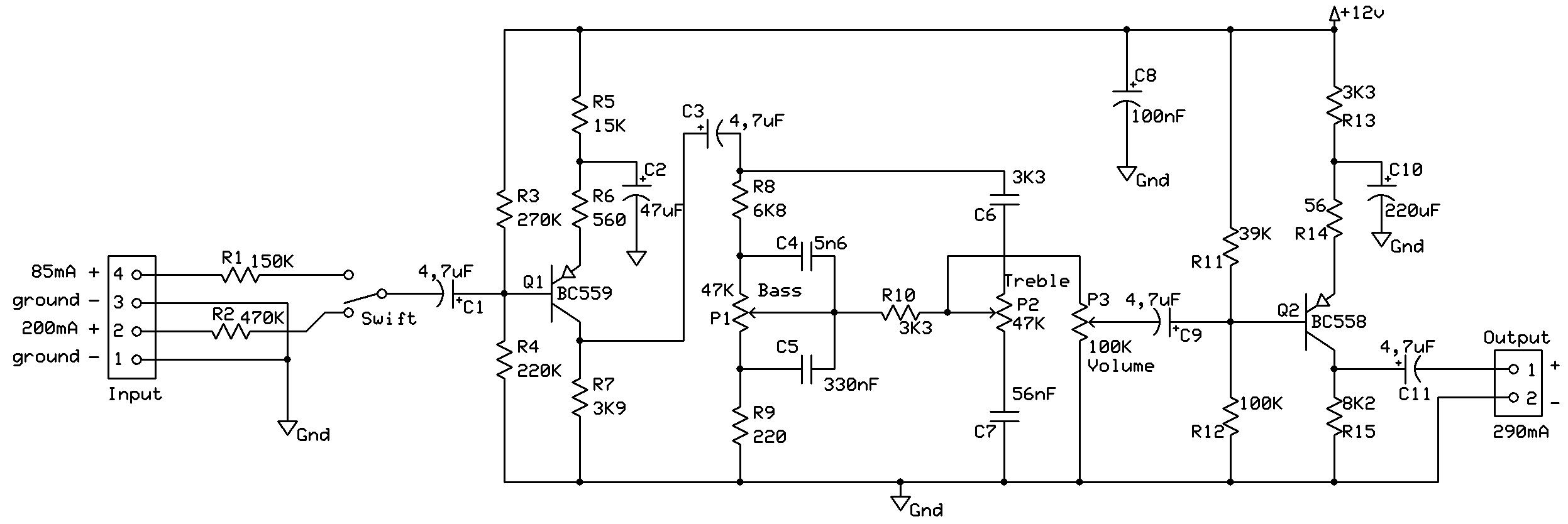 Esquema pré-amplificador com controle de tom e volume