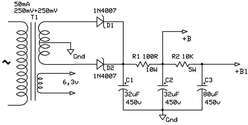 esquema fonte alimentação amplificador valvulado 15w el84