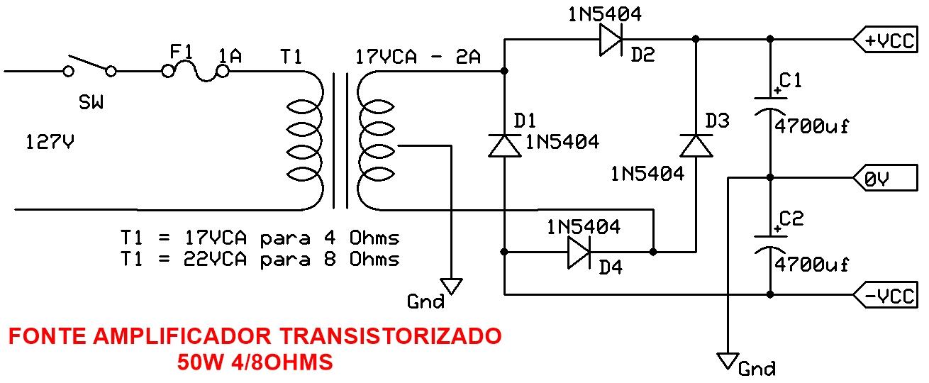 FONTE AMPLIFICADOR 50W TRANSISTORIZADO PDF