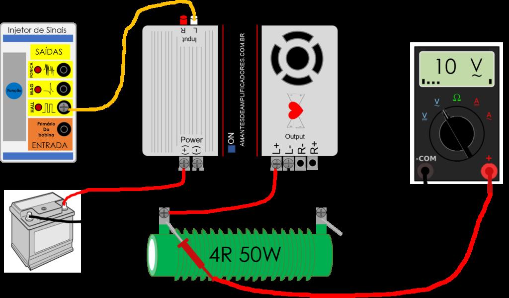 medir potência rms amplificador multímetro